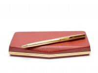 Vintage Aurora 98 Italy Ballpoint Push Mechanism Steel Gold Plated Pen in Box With New Refill