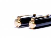Rare 1980 Made in W. Germany Herlitz Bugatti (Now Pelikan) Black Resin & 24K Gold 14K F Fine Nib Fountain Pen & Ballpoint Pen Set In Box