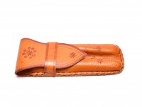 Rare Handmade Thick Genuine Leather Saddle Tan Brown Pouch Case for 2 Fountain Rollerball or Ballpoint Pens