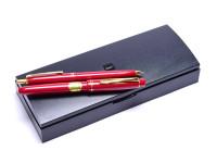 Pilot 78G Red Maroon & Gold Plated M Medium Nib Fountain Pen & 0,4MM Leads Mechanical Pencil Set in Box