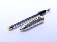 The Original Oversize 1990s CROSS Townsend Made in Ireland Steel Chrome & 23K Gold Fountain Pen Fine Nib