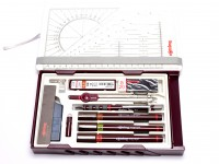 NOS Vintage Rotring Isograph Master Set 3 Technical Pens 0.10mm, 0.30mm, 0.50mm + Tikky Pencil, Centro Compass & Refills in Box