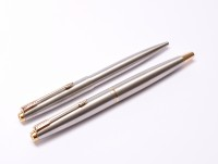 Made in France Parker 45 Flighter Brushed Steel 14K EF Nib Fountain & Ballpoint Pen Set In Box