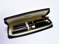 1969 Pelikan 30 (M30) Rolled Gold & Black Resin 14K EF Flexible Nib Fountain | Ballpoint and Mechanical Pencil Pen Set In Pouch
