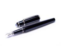 Composite Noir Diabolo de Cartier STYLO PLUME Black Resin & Platinum Sapphire Cabochon Blue Gemstone Crown France Nib Fountain Pen