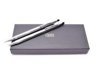 Vintage Cross Classic Century Lustrous Chrome Ballpoint Pen & Mechanical Pencil Set 3501 in Box