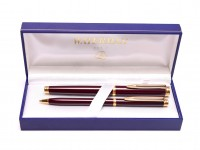 1990s NOS WATERMAN Gentleman Dark Maroon Red Brown Lacquer & Gold Plated Rollerball & Slimline Mechanical Pencil Set in Box