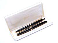 Reform Germany 4328 Round Black Resin & Gold B Broad Nib Fountain & Ballpoint Pen Set In Box