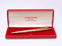 Caran d'Ache No. 852 Gold Plated Ballpoint Pen In Box