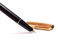 Vintage 1970s AURORA Italy 888P Black & Gold Plated 14K Gold F-M Nib Cartridge/Converter Fountain Pen