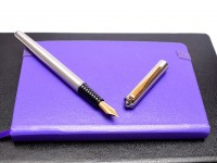 Rare Vintage Spanish INOXCROM F Fine Nib Polished Steel W/ Gold Plated Trims Fountain Pen