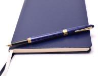 Sheaffer Crest Nova Marbled Lacquer Ultramarine Blue W/ 23K Gold Plated Trim Rollerball Pen USA
