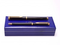 1990s NOS WATERMAN Gentleman Slimline Black Lacquer & Gold Plated Rollerball & Ballpoint Set in Box