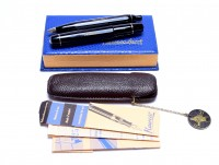 1960s 12 Sided Black Resin KAWECO SPORT 12/V12 OB Oblique Broad & 618 Fountain & Ballpoint Pen Set in Leather Pouch
