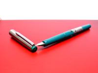 Vintage Geha 705 Turquoise Green & Silver Stainless Steel A NIb Cartridge Fountain Pen