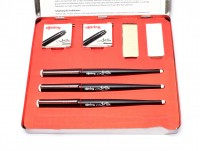 Vintage Rotring ArtPen Fountain Calligraphy Pen Set In Box w/ 12 Cartridges, Converter, Arkansas Stone & Buffing Leather (S0227700)