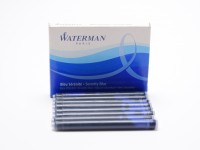 WATERMAN Serenity Blue Cartridges   Specs: Made in France Size: Large/Long Fits: Waterman Pens (and other pens using Standard International Format) Ink Color: Serenity Blue (Also known as Florida Erasable Blue - Royal Blue Ink Type: Water Based Standard: