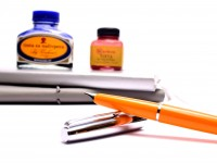 Original PATROMATIC Cartridge/ Converter Filler Orange & Silver Steel EF Extra Fine Nib Fountain Pen