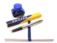 NOS Vintage Skater EF Extra Fine Steel Nib Fountain Pen with Aerometric Bladder Converter in Box