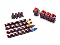 NOS Vintage Rotring Isograph 4 Technical Pens 0.25mm, 0.35mm, 0.50mm, 0,70mm + Ink Tube & Pen Station Set in Box
