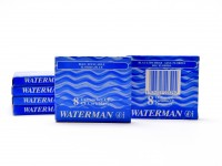 Vintage NOS (For Older Waterman Pens) WATERMAN Specific CF Style Original Made in France FLORIDA ROYAL BLUE Fountain Pen Ink Cartridges Refills - Pack of 8