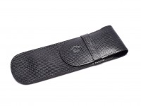 Waterman Black High Quality Leatherette Croc Pattern Pen Pouch Case Sleeve for 1 or 2 Fountain Ballpoint Pens or Pencils