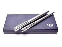 Vintage Waterman Graduate Satin Chrome F Fine Nib Fountain Pen & Push Button Ballpoint Pen Set in Box
