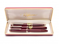 NOS 1960s Reform Triangular Burgundy Red Super Flexible 14K Nib 4383 Fountain, 650 Ballpoint & 965 Marker/Rollerball 3 Pen Set in Box
