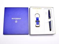 Rare NOS Waterman Expert II Dune CT Marbled Blue & Chrome F Fine Nib Fountain Pen Set In Box