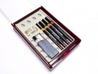 NOS Vintage Rotring Variant II 4 Technical Pens 0.20mm, 0.30mm, 0.40mm, 0,50mm + Ink Tube & Compass Attachments Set in Box