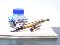 Original 1951 1950 1956 PELIKAN 500 Gunther Wagner Rolled Gold Fully Flexible 14K Gold M Nib Tortoise Brown Striped Celluloid Shell Fountain Pen