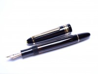 1950s MONTBLANC Masterpiece/Meisterstuck Celluloid 142 KM Kugel/Ball Medium Super Flexible Nib Telescopic Piston Fountain Pen