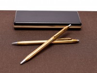 Vintage Senator Gold Plated Push Button Mechanism Ballpoint Pen & 1.00mm Lead Mechanical Pencil Set in Box