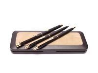 Paper Mate M Medium Nib Fountain Pen Push Button Ballpoint Pen & Mechanical Pencil Set in Box