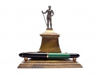Vintage Peasant Man Solid Cast Brass Bronze Inkwell And Pen Base Stand