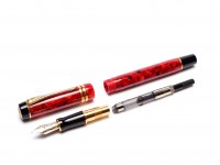 Rare 1996 IIY UK PARKER Duofold International Centennial MKII Jasper Red GT 18K Gold M Medium Two Tone Nib Fountain Pen  w/ Piston Converter