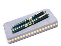 Flagship 1970s Reform 4000 Unique Olive Green (Pelikan 400NN) 14K Gold Super Flex EF Nib Fountain #619 Ballpoint Pen Set In Box