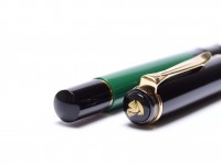 1997 Germany Compact Pelikan M150 Black Green M Medium Nib Piston Fountain Pen