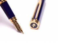 Classic 1990s WATERMAN Ideal Gentleman Blue Lacquer & Gold 18K 750 F Flex Nib Fountain Pen