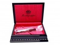 Montegrappa Oriental Zodiac Dragon Limited Edition 18K OB Oblique Broad Nib Marble Red & Silver Fountain Pen in Box