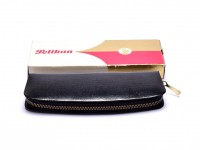 NOS 1960s Pelikan 42 99 A 083 Original Genuine Leather Black Pouch Case in Box for 2 Fountain Ballpoint Pens or Pencils