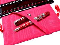 Montegrappa Oriental Zodiac Dragon Limited Edition 18K OB Oblique Broad Nib Marble Red & Silver Fountain Pen in Box