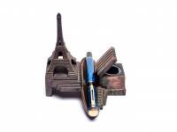 Antique Eiffel Tower Solid Cast Brass/Bronze Base Stand w/ Inkwell for One Fountain Rollerball Ballpoint Pen Holder