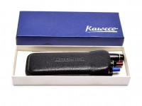 Rare New NOS 1970s 12 Sided Black Resin KAWECO Sport V16 & Two 619 EF Fountain & Two Ballpoint Red & Blue Pens Set in Box