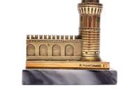 Retro Desktop Decor Solid Cast Brass/Bronze Base Moscow Vodovzvodnaya Tower Figurine Pen Holder Stand