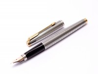 PARKER 75 Made in USA Solid 925 Sterling Silver Crosshatch Cisele Fountain Pen & Mechanical Pencil Set