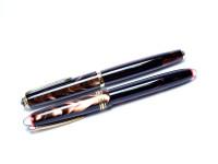 1960s Celluloid Deep Pearl Brown CENTROPEN Super Flexible F to 3B 14K Nib Piston Fountain Pen