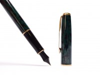 Vintage Parker Sonnet Forest Green Lacquer & Gold Plated Trims Cartridge Filler M Medium Nib Fountain Pen Made in France