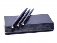 NOS 1970s MONTBLANC No. 221 261 281 Black Resin 14K EF Fountain Pen Lever Ballpoint & 1.17mm Mechanical Pencil Set in Box