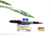 1956 Pelikan 140 Tortoise Green Striped Gunther Wagner 14K Gold Flexible EF Nib Piston Fountain Pen